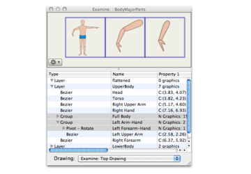 Example of inspecting layers and groups of graphics with EazyDraw on OS X.
